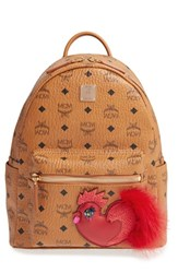 Mcm New Year Series Small Coated Canvas Backpack With Genuine Fox Fur Trim