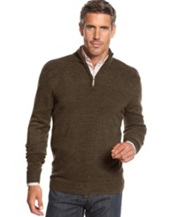 Geoffrey Beene Big And Tall Solid Ribbed Quarter Zip Sweater