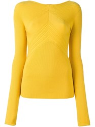 Cedric Charlier Ribbed Knit Jumper Yellow And Orange