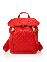 Del Toro Quilted Leather Backpack Red Black