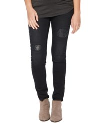 Motherhood Maternity Distressed Skinny Jeans Black Destruction Wash