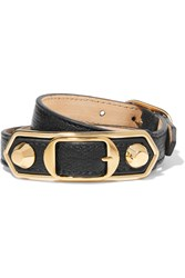 Balenciaga Triple Tour Textured Leather And Gold Tone Bracelet