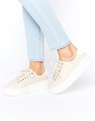 Truffle Collection Hell Yeah Flatform Trainers Beige Pu