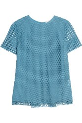 Tory Burch Crescent Crocheted Cotton Top Blue