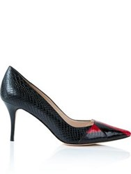 Lucy Choi London Desire Snake Print Court Shoes Black
