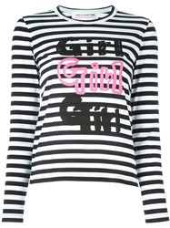Comme Des Gara Ons Girl Striped 'Girl' Print T Shirt White