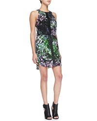 Cusp By Neiman Marcus Sleeveless Floral Dress W Leather Strips Green Pink