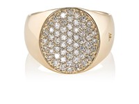 Tom Wood Women's Pinky Oval White Diamond Ring Gold