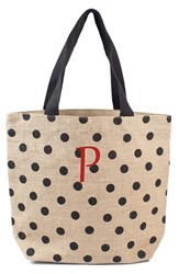 Cathy's Concepts Personalized Polka Dot Jute Tote Black Black P
