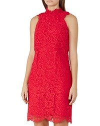 Reiss Sophia Lace Dress China Red