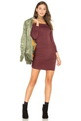 Krisa Ruched Off Shoulder Mini Dress Burgundy
