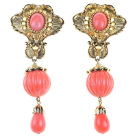 Alice Joseph Vintage 1990S Jose Maria Berrera Gilt Drop Earrings Coral