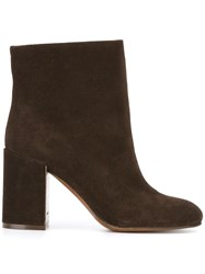 L'autre Chose Chunky Heel Ankle Boots Brown