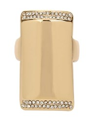 Kenneth Cole Pave Rectangle Ring Gold