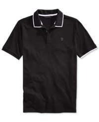 Sean John Men's Jacquard Tipped Polo Black