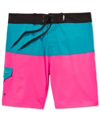 Maui And Sons Men's Neon Aloha Colorblocked Boardshorts Neon Blue
