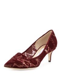 Jimmy Choo Allure Flocked Snake Print Loafer Pump Bordeaux