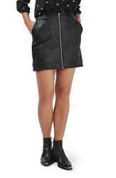 Topshop Women's Stitch Detail Faux Leather Miniskirt