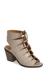 Kelsi Dagger Brooklyn 'Katreena' Leather Open Toe Bootie Women Desert Grey