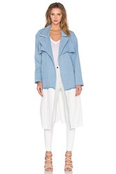 Kendall Kylie Denim Trench Coat Blue