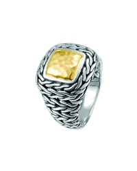 John Hardy Sterling Silver And 22K Yellow Gold Braided Palu Ring Size 7