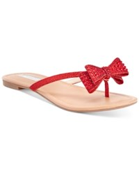 Inc International Concepts Malissa Rhinestone Bow Flat Sandals Only At Macy's Women's Shoes Spicy Red