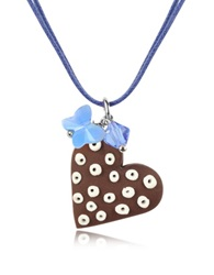Dolci Gioie Chocolate Heart Cake Pendant W Lace Brown
