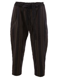 Ziggy Chen Double Striped Tapered Trousers Black
