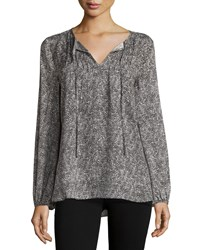 Neiman Marcus Printed Pintucked Peasant Sleeve Blouse Black Multi