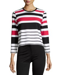Chelsea And Theodore Striped Knit Crop Top Multi