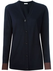 Paul By Paul Smith Contrasted Cuff Cardigan Blue