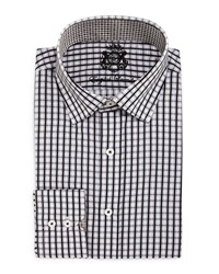 English Laundry Plaid Woven Dress Shirt Grey Blk