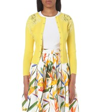 Karen Millen Lace Detail Knitted Cardigan Yellow
