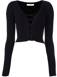 Ssheena Lace Up Cropped Cardigan Black