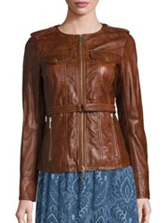 Michael Michael Kors Belted Leather Jacket Cognac