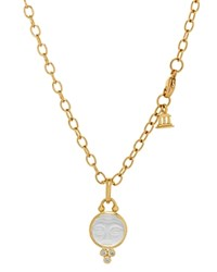Temple St. Clair 18K Yellow Gold Moonface Pendant With Carved Rock Crystal And Diamond Granulation White Gold