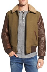 Schott Nyc Men's Mixed Media B 15 Flight Jacket With Genuine Shearling Collar