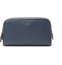 Smythson Burlington Full Grain Leather Wash Bag Navy