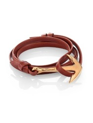 Miansai Anchor Leather Bracelet Matte Goldtone Brown