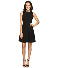 Christin Michaels Keira Fit And Flare Dress With Whipstitch Detail Black Women's Dress