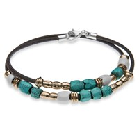 Platadepalo Resin Bronze Silver Turquoise And Leather Bracelet Black Blue