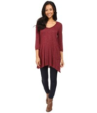 Allen Allen Slub Angled 3 4 Tunic Rumba Women's T Shirt Red