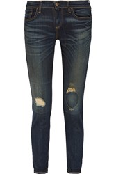 Simon Miller Bryce Distressed Mid Rise Slim Leg Jeans Blue