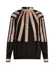 Stella Jean Scendere Jacquard Applique Silk Blouse Black Multi