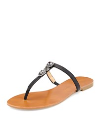 Badgley Mischka Catrina Crystal Leather Thong Sandal Black