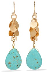 Kenneth Jay Lane Gold Tone Turquoise Earrings Blue