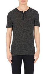 John Varvatos Men's Striped Short Sleeve Henley Black