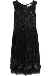 Mikael Aghal Embellished Tulle Dress Black