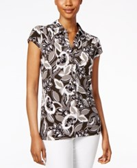 Alfani Printed Cap Sleeve Polo Top Only At Macy's Floral Elements Olive