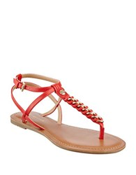 Tommy Hilfiger Lynne Braided Metal Chain Thong Sandals Red
